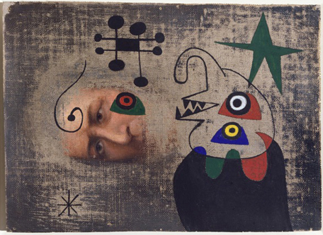 <strong>Joan Miró</strong><br> <em>Personnage dans la nuit</em>, 1944<br> Oil and gouache on canvas<br> 6 3/4 x 9 1/4 in <br> (17 x 23.5 cm)