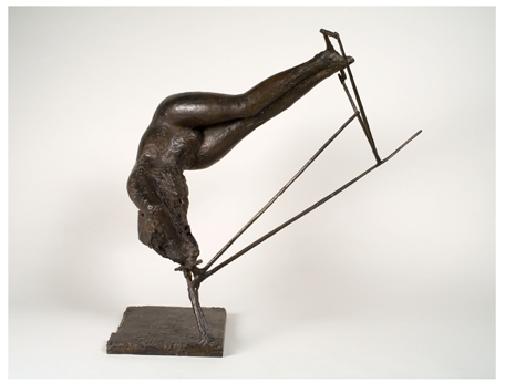<strong>Reg Butler</strong><br> <em>Figure in Space</em>, 1957<br> Bronze<br> 33 ½ x 31 ½ x 20 ½ in <br> (85 x 80 x 52 cm)