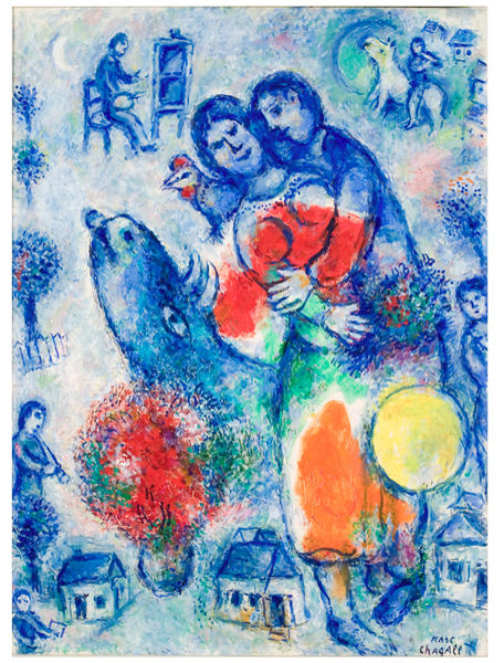 <strong>Marc Chagall</strong><br> <em>Couple bleu rouge jaune</em>, 1981<br> Oil on canvas<br> 32 x 24 in (81.5 x 61 cm)