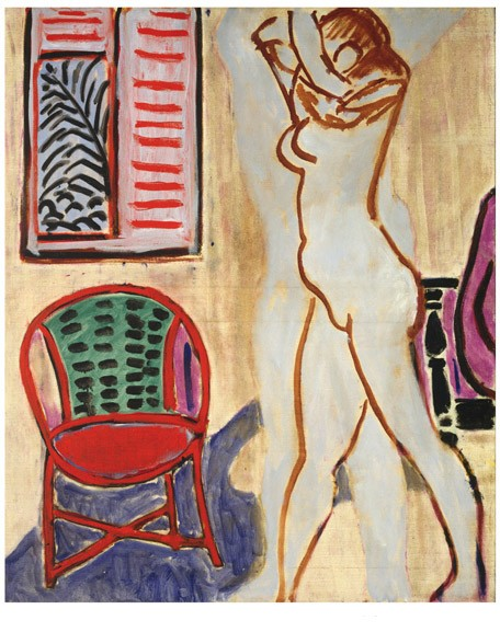 <strong>Henri Matisse</strong><br> <em>Nu campe, bras sur la tête</em>, 1947<br> Oil on canvas<br> 28 15/16 x 27 1/2 in <br> (73.5 x 70 cm)