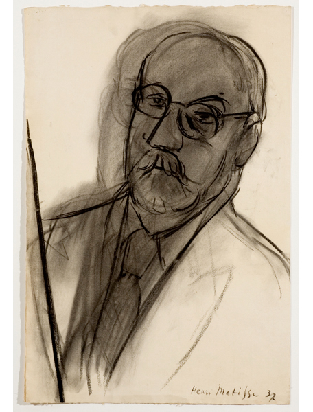 <strong>Henri Matisse</strong> <br><em>Grand autoportrait</em>, 1937 <br>Charcoal on paper <br>24 ¼ x 15 ¾ in <br> (61.5 x 40 cm)