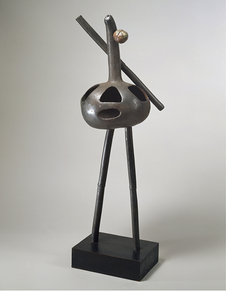 <strong>Joan Miro</strong><br> <em>Personnage</em>, 1950<br> Bronze, terracotta and iron on wooden base<br> 39 x 11 x 10 in <br> (99.06 x 27.94 x 25.4 cm)