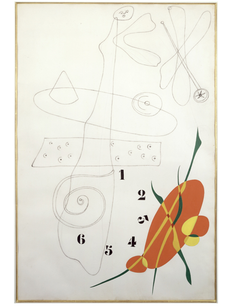 <strong>Joan Miró</strong><br> <em>Untitled - Numbers</em>, 1933<br> Graphite, conte crayon and gouache on paper<br> 41 7/8 x 27 ¾ in <br> (106.5 x 70.5 cm)